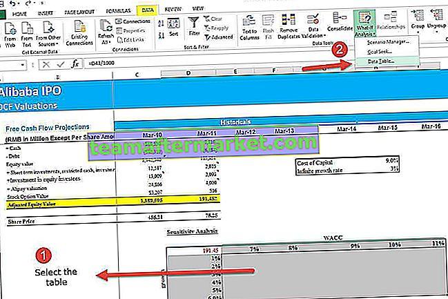 Sensitivitätsanalyse in Excel | Tabelle mit einer und zwei variablen Daten