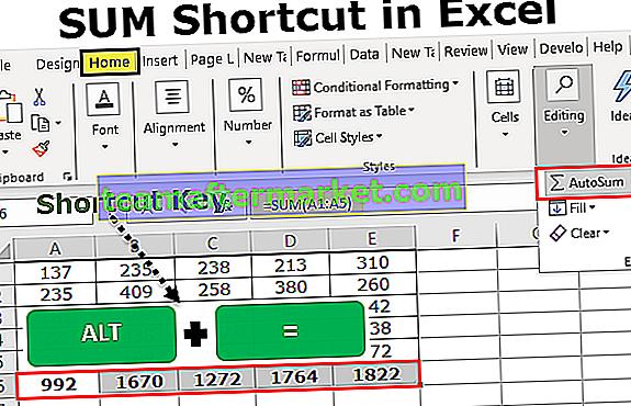 Excel SUM-snelkoppeling