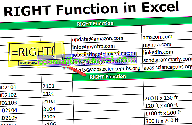 RECHTE Funktion in Excel