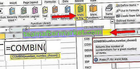 COMBIN-Funktion in Excel