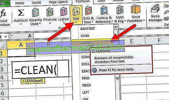 CLEAN Excel-Funktion