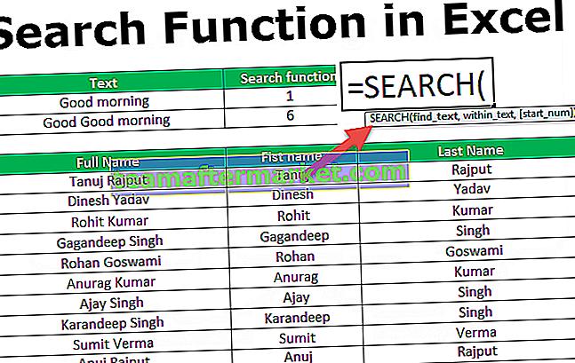 Suchfunktion in Excel