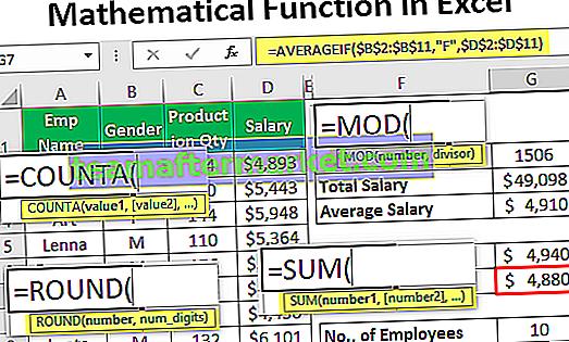 Fonction mathématique dans Excel