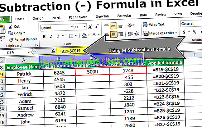 Formule de soustraction Excel