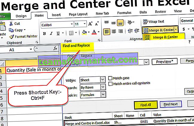 Samenvoegen en centreren in Excel