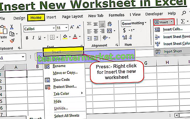 Voeg een nieuw werkblad in Excel in