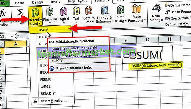 Excel DSUM