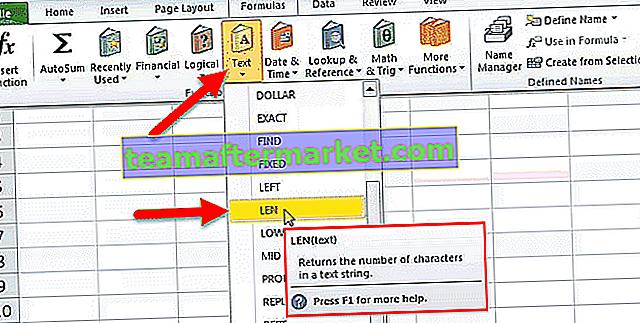 LEN Excel-functie (lengte)