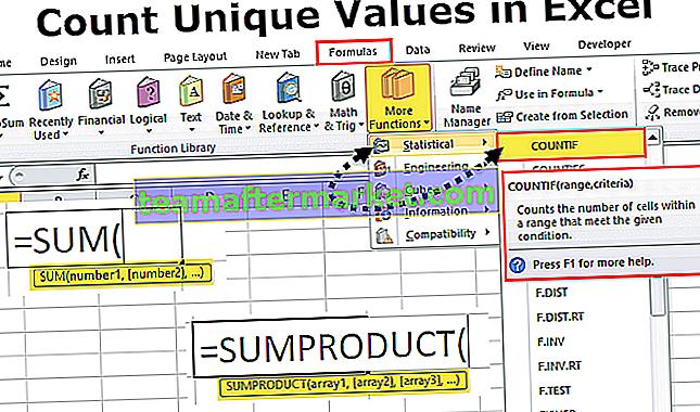 Zählen Sie eindeutige Werte in Excel