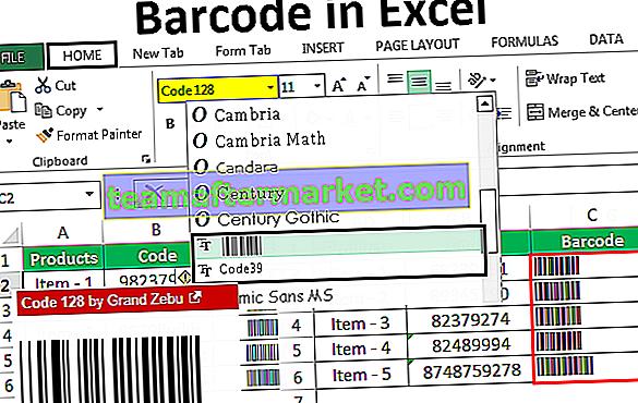 Streepjescode in Excel
