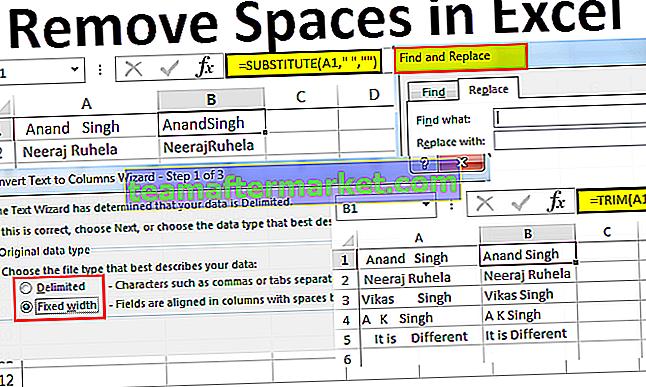 Entfernen Sie den Speicherplatz in Excel