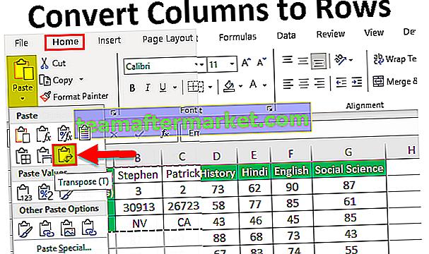 Converteer kolommen naar rijen in Excel