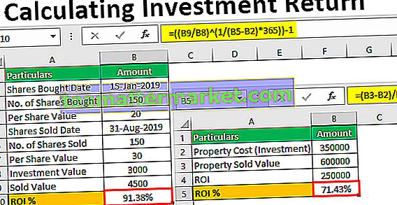 Berechnung der Kapitalrendite in Excel
