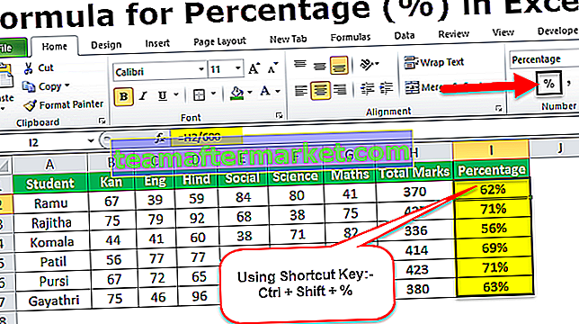 Bereken percentage in Excel-formule