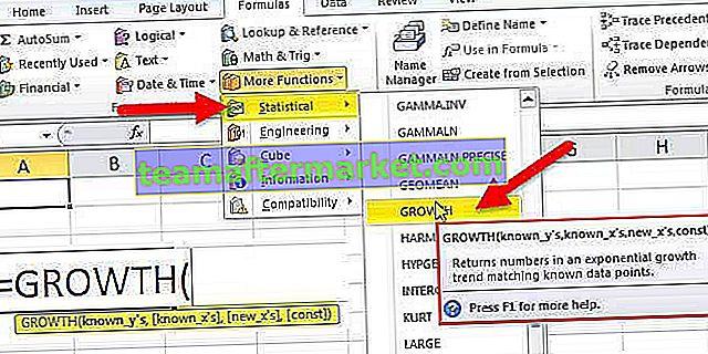WZROST Funkcja Excel