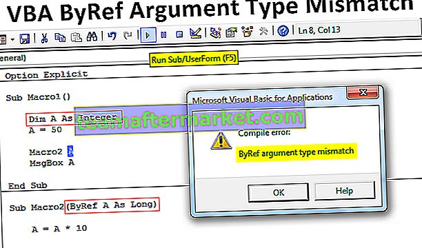 Incompatibilité de type d'argument VBA ByRef