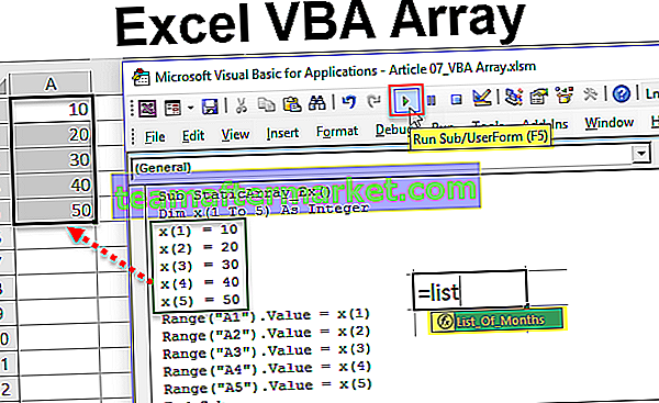 VBA-Arrays funktionieren in Excel