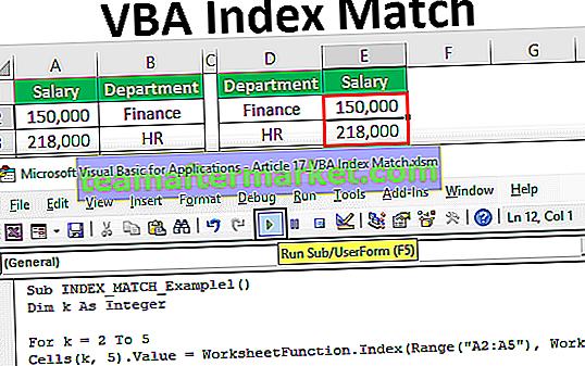 Correspondance d'index VBA