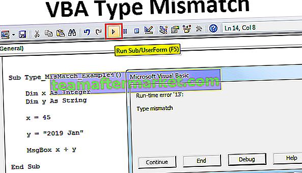 Erreur de non-concordance de type VBA