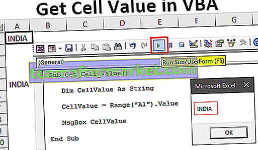 Obtenir la valeur de la cellule dans Excel VBA